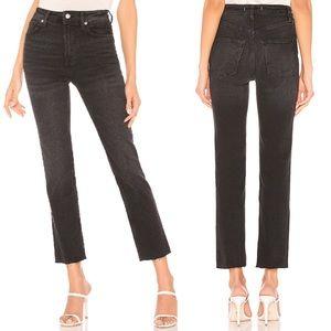 Free People Hi Slim Straight Frayed Jeans